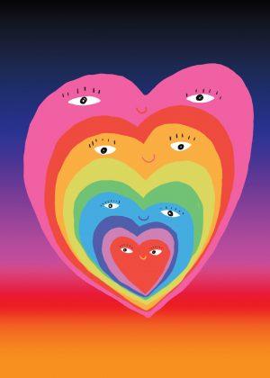Poster Coração -azul/laranja- Grande -0