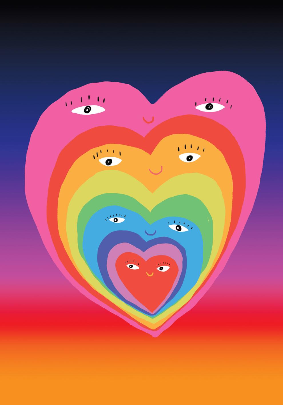 Poster Coração -azul/laranja- Pequeno-0